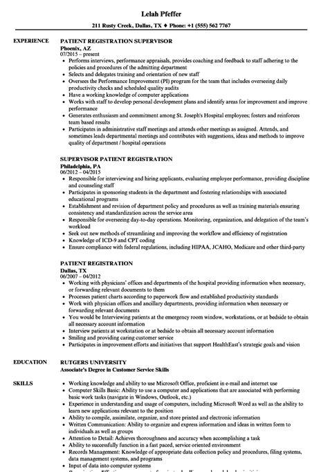 patient registration resume sles velvet