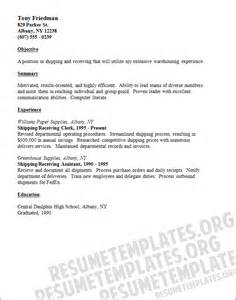 Shipping Clerk Resume Templates by The Most Common Shipping And Receiving Resume Template