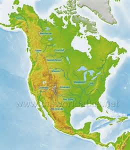 North America Physical Map Rivers