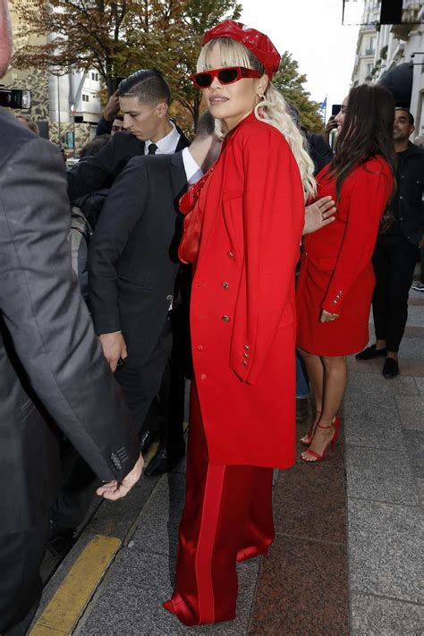 rita ora dazzles in an all red ensemble as she leaves her ...