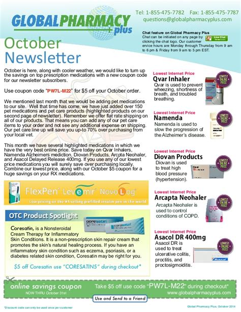 Global Pharmacy by Global Pharmacy Plus Coupon Newsletter October 2014