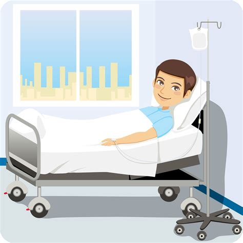 Happy Patient in Hospital Bed Clip Art