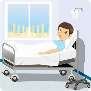 Patient In Hospital Bed With Family Cartoon