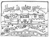 Travel Coloring Pages Camping Adult Colouring Camper Trailers Printable Whimsical Instant Caravan Line Park Rv Trailer Sheets Etsy Sketch Campers sketch template