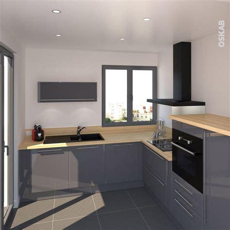 plan de cuisine en l cuisine bleue grise contemporaine avec plan de travail