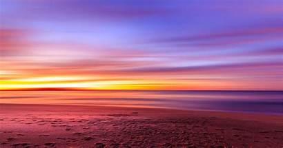 Sunset Purple Beach Sky Sand Footprints Wallpapers
