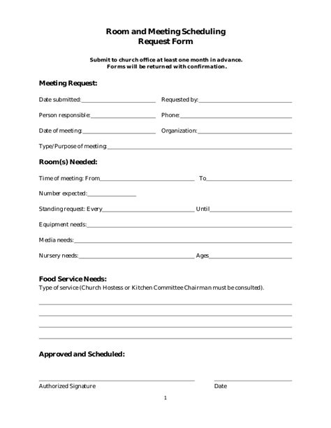 roomand meeting scheduling form