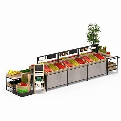 Supermarket Shelves Combination Vegetable Fruit Display
