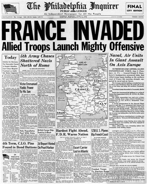 wwii newspaper headlines from the d day of 1944 click americana