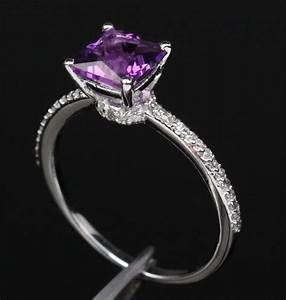 princess cut dark purple amethyst 14k white gold pave With purple diamond wedding ring