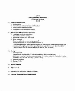 annual meeting agenda template 8 free word pdf With minutes of shareholders meeting template