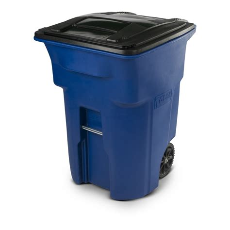 rolling storage carts shop toter 96 gallon blue plastic wheeled trash can with