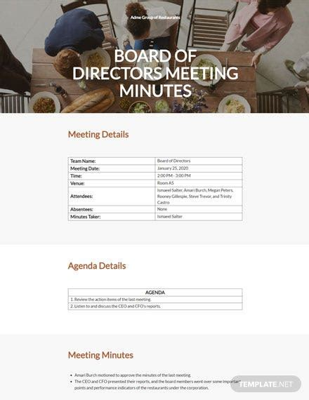 board  directors meeting minutes templates word