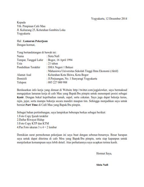 contoh surat lamaran kerja kasir ben jobs