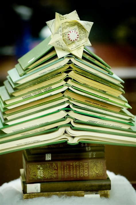 book puke 5 christmas trees made out of books