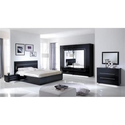 Chambre Avec Lit Noir Chambre 224 Coucher Mod 232 Le City Laquee Avec Armoire 2