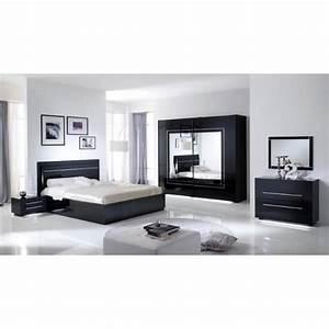Modele Deco Chambre : chambre coucher mod le city laquee noire avec armoire 2 portes 240 cm et lit simple achat ~ Teatrodelosmanantiales.com Idées de Décoration