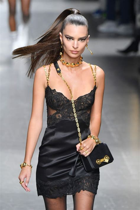 fashion week emily ratajkowski at versace runway show at milan fashion