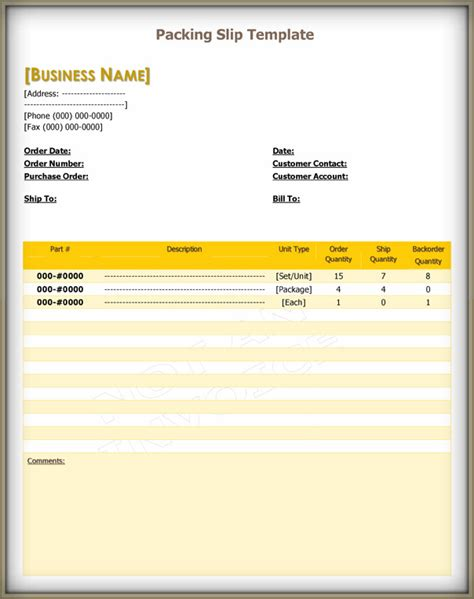 packing slip templates   examples