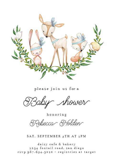 wreath woodland animals baby shower invitation template