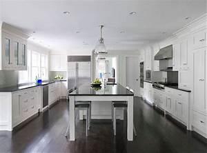 White Kitchen Cabinets Dark Wood Floors Transitional