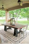 Make Outdoor Wood Table by Ana White Sawhorse Outdoor Table DIY Projects