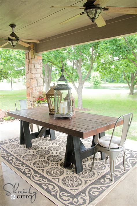 farmhouse patio table white sawhorse outdoor table diy projects
