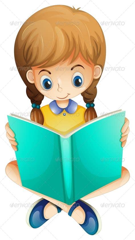 Cute Cartoon Girl Reading A Book » Tinkytylerorg Stock