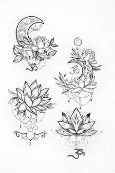Black and white floral motifs of persian style vector. Lotus henna tattoo by Seamartini on