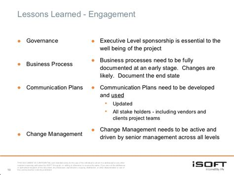 lessons learned project management project implementation and lessons learned a vendors view