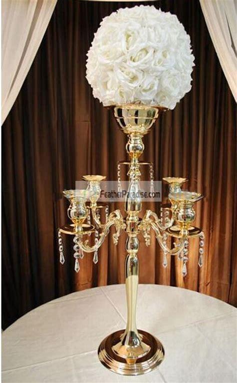 gold silver candelabra floral riser wedding centerpieces