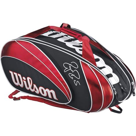 wilson federer  pack tennis bag red blk wht   tennis