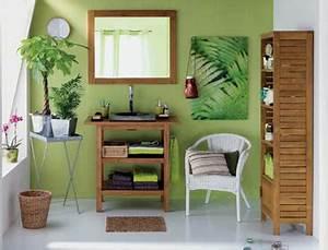 déco salle de bain vert bambou