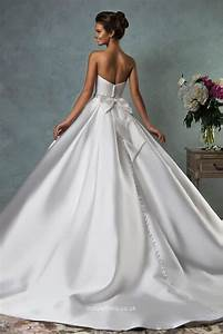 strapless floor length white satin simple ball gown With satin ball gown wedding dresses