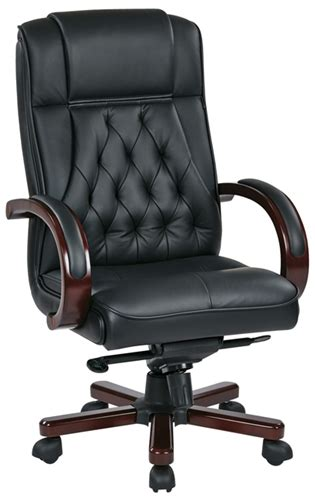 tradittional high back executive leather office chair