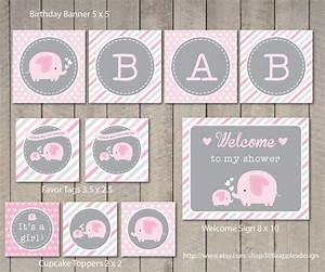 4 Best Images of Pink Elephant Baby Shower Printables ...