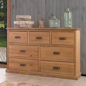 Commode 150 Cm : commode en bois 7 tiroirs en pin massif longueur 144 cm hank ~ Teatrodelosmanantiales.com Idées de Décoration