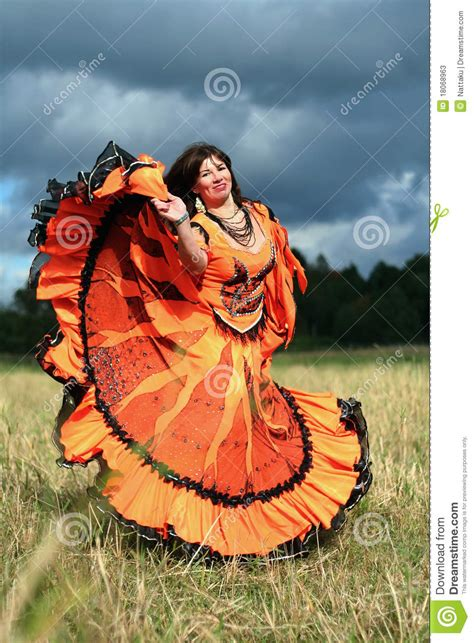 gypsy girls dance   field stock  image
