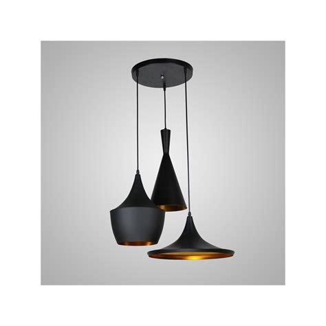 lustre plafonnier à 3 les l60cm style américain noir en