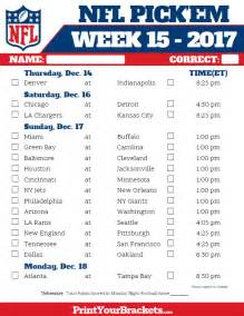 Pick Em Week 15 NFL Schedule Printable
