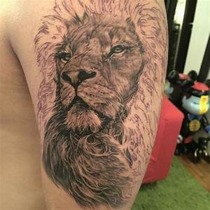 Lion Kabuto Tattoo Design For Men