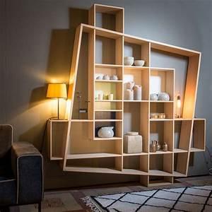 Biblioth U00e8que En Bois De Forme Design Et G U00e9om U00e9trique