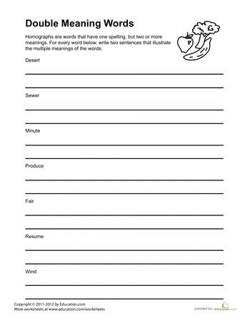 words with meanings worksheet 1st grade