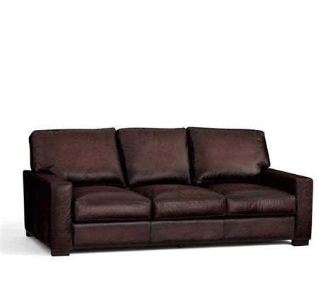 turner leather square arm sleeper sofa from pottery barn