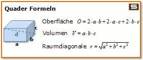Volumen Quader Berechnen : quader formel volumen fl che oberfl che mathe pinterest volumen fl chen und oberfl che ~ Themetempest.com Abrechnung