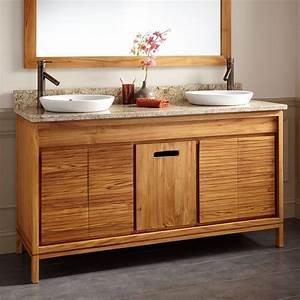 60, U0026quot, Becker, Teak, Vanity, For, Semi-recessed, Sink