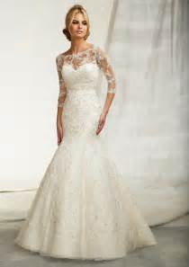 wedding gowns with sleeves beautiful wedding dresses with 3 4 sleeves cherry