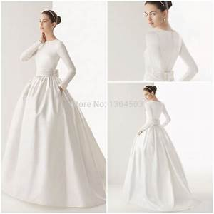 2015 boat neck muslim wedding dress long sleeve sash bow With wedding dress with pockets and sleeves