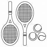 Tennis Coloring Rackets Balls Pagina Racchette Colorante Palle Vettoriale Nero Bianco Illustrazioni sketch template