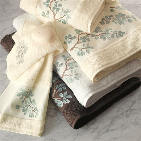 5283 blue and brown towels blue floral embroidered towels gump s